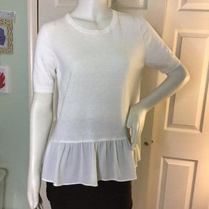 LOFT White Short Sleeve Ruffle Bottom Sweater Sz M